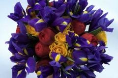 Košs un pavasarīgs apsveikuma pušķis no rozēm un īrisiem