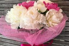Liels apsveikuma pušķis no peonijām - balts, rozā