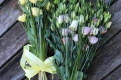 Dzeltenas un rozā lizantes - apsveikuma pušķi