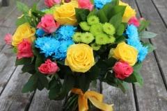 Liels ziedu pušķis - dzltens, rozā, sarkans, zils, zaļš