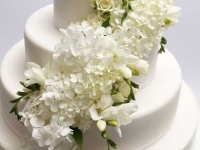 Baltas frēzijas uz kāzu tortes