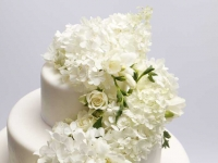 Kāzu tortes dekorā baltas hortenzijas