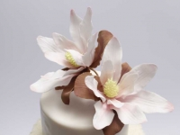 Cukura magnolijas uz kāzu tortes