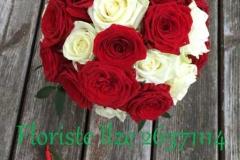 Klasisks rožu līgavas pušķis - balts, sarkans