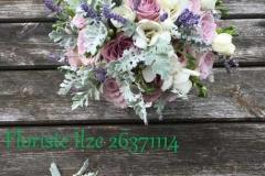 Līgavas pušķis - violetas rozes, lavanda, baltas frēzijas, sudrabainas lapiņas