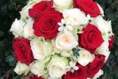 Sarkanas un baltas rozes, smalki ziedi un zaļumi līgavas pušķī