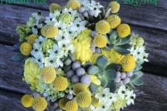 Sukulentu līgavas pušķis - balts, pelēks, dzeltens, zils, zaļš