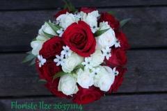 Metamais līgavas pušķis no rozēm - balts, sarkans, zaļš