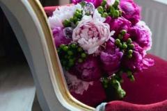 Liels līgavas pušķis - fuksiju rozā un maigi rozā peonijas