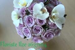 Klasisks rožu līgavas pušķis un piespraude līgavainim ar orhidejām, violets, balts