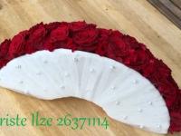 Līgavas pušķis - vēdeklis - sarkanas rozes, pērles