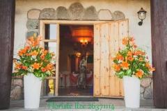 Viesu nama ieejas noformējums. Oranžas lilijas. Turbas