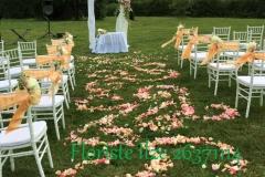 Laulību ceremonijas noformējums - arka, krēsli, ziedlapu celiņš. Ide