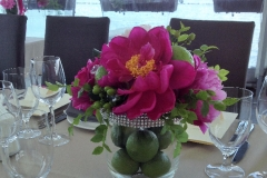 Nelielas galda kompozīcijas - peonijas, laimi un briljanti. Ostas skati