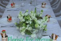 Viesu galdu noformējums balti zaļos toņos. Vecupenieki