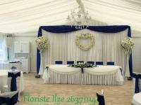 Restorāna noformējums kāzām zilos toņos. Kāzas Riverside House